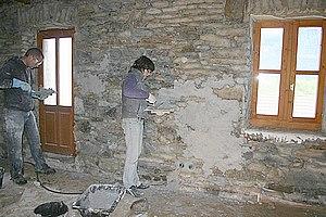 chantier r alis enduit terre paille chaux et chaux et pierres vues ayze 74 terre pierre. Black Bedroom Furniture Sets. Home Design Ideas
